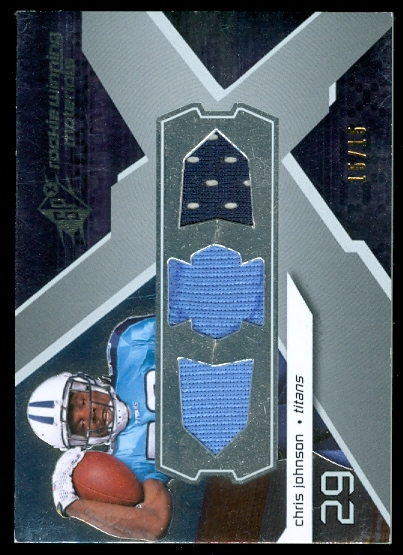 2008 SPx Rookie Materials Unique Shape Triple 15 #RMCJ Chris Johnson