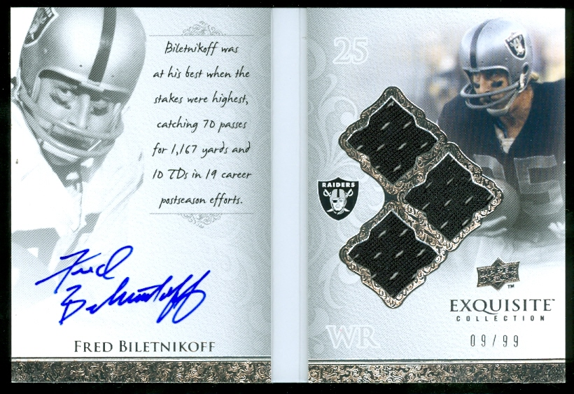 2009 Exquisite Collection Autobiography Jersey Signatures #FB Fred Biletnikoff/99