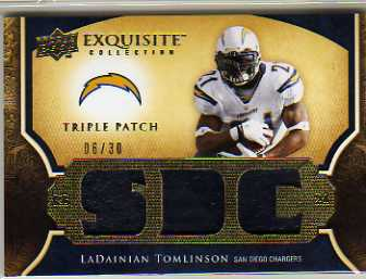 2009 Exquisite Collection Single Player Triple Patch #3PTO LaDainian Tomlinson