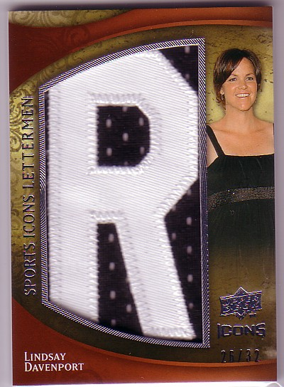 2009 Upper Deck Icons Sports Lettermen #SLLD Lindsay Davenport/33/(Letters spell out DAVENPORT/  Total print run 297)
