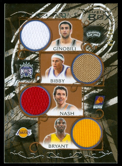 2006-07 Topps Luxury Box Relics Quad Bronze #4 Manu Ginobili/Mike Bibby/Steve Nash/Kobe Bryant