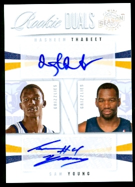 2009-10 Panini Season Update Rookie Duals Signatures #23 Hasheem Thabeet/99/Sam Young