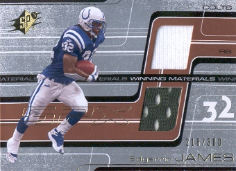 2001 SPx Winning Materials #WMEJ1 Edgerrin James/300