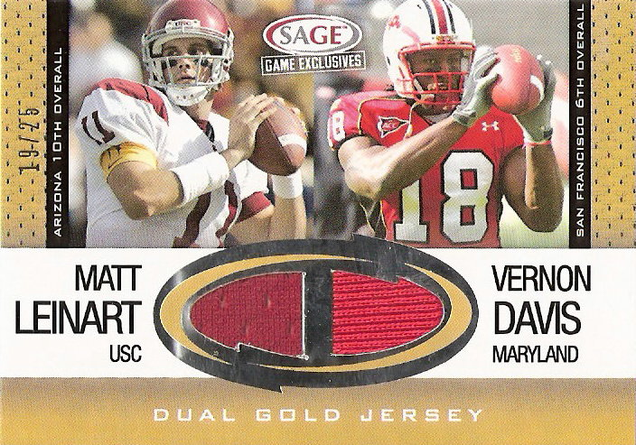 2006 SAGE Game Exclusive Oversized Jersey Combos Gold #CS7 Vernon Davis/Matt Leinart