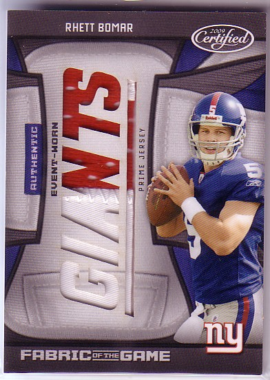 2009 Certified Rookie Fabric of the Game Team Die Cut Prime #16 Rhett Bomar