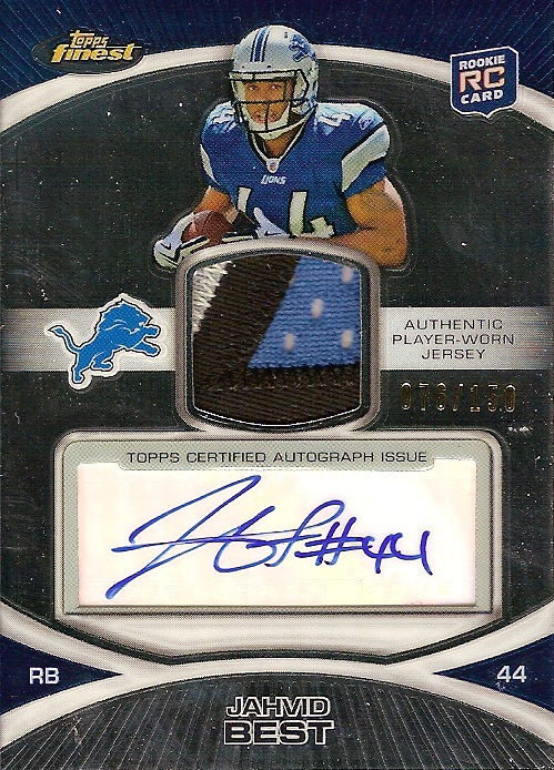 2010 Finest Rookie Patch Autographs #59 Jahvid Best/150