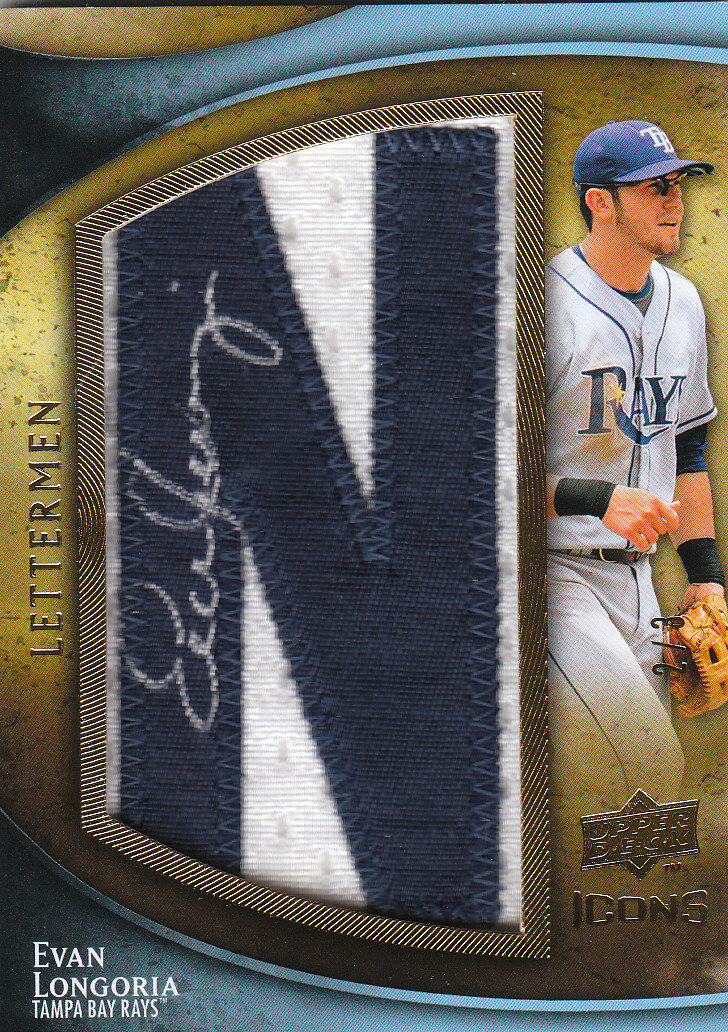 2009 Upper Deck Icons Lettermen Autographs #EL Evan Longoria/24 */Letters spell out LONGORIA each letter #'ed to 3/Total print run 24