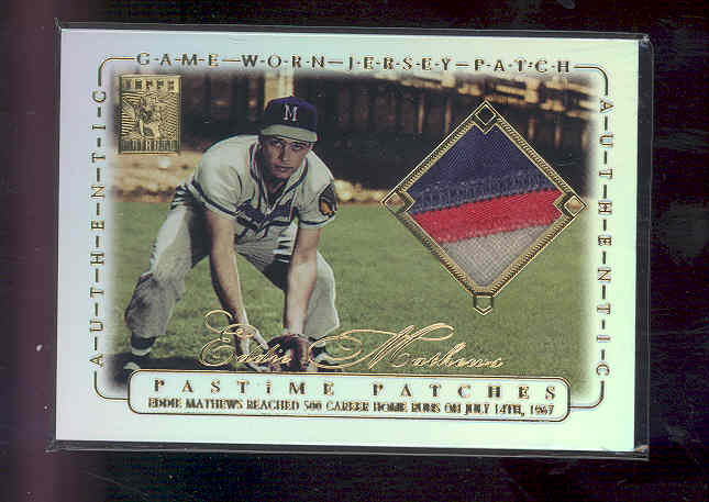 2002 Topps Tribute Pastime Patches #EM Eddie Mathews A