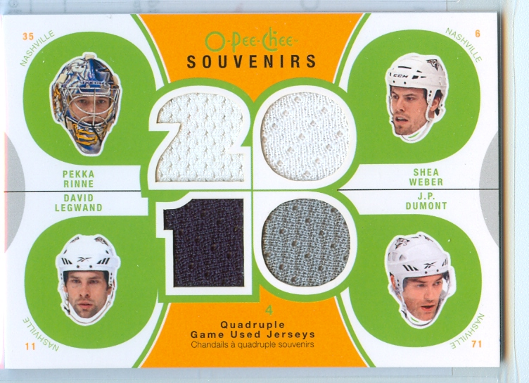 2010-11 O-Pee-Chee Souvenirs #SVPRED Shea Weber/J.P. Dumont/Pekka Rinne/David Legwand