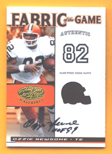 2007 Leaf Certified Materials Fabric of the Game Autographs #136 Ozzie Newsome/5