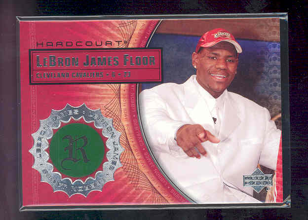 2003-04 Upper Deck Hardcourt LeBron James Floor #LB4 LeBron James/White Suit Red Hat