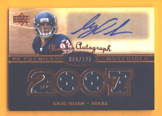 2007 Upper Deck Premier Rookie Autographed Materials Bronze #143 Greg Olsen