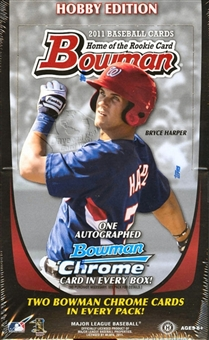 2011 Bowman ( By Topps ) Baseball Factory Sealed HOBBY Series Box - 1 Autograph ( Possible Bryce Harper ) & 48 Chrome Cards Per Box - WEEKEND SPECIAL - In Stock Now         