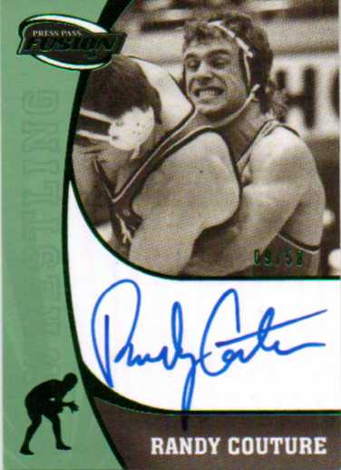 2009 Press Pass Fusion Autographs Green #SSRC Randy Couture/50