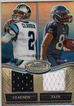 2010 Bowman Sterling Dual Jersey Box Topper Blue Refractors #CT Jimmy Clausen/Golden Tate