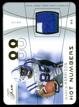 2004 Flair Hot Numbers Game Used Die Cut Patches #HNMH Marvin Harrison