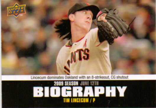 2010 Upper Deck Season Biography #SB81 Tim Lincecum