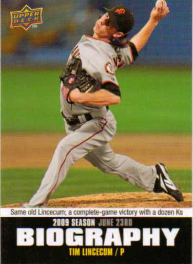 2010 Upper Deck Season Biography #SB96 Tim Lincecum