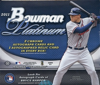 2011 Bowman PLATINUM ( By Topps ) Baseball Factory Sealed HOBBY Series Box - 3 AUTOGRAPHED ( 2 Chrome + 1 Relic Or Patch ) Cards Per Box - In Stock  front image