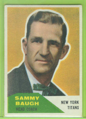 1960 Fleer #20 Sammy Baugh CO