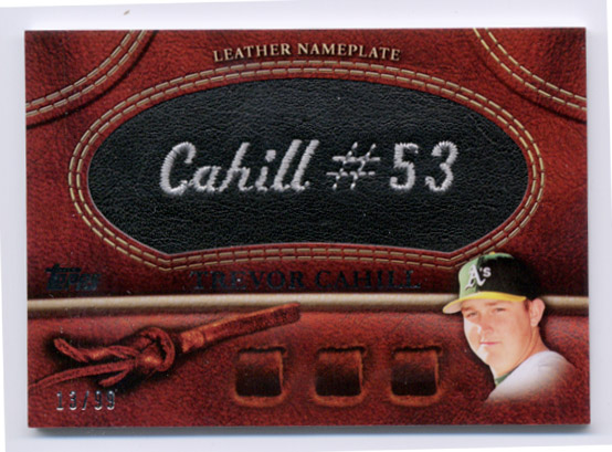 2011 Topps Glove Manufactured Leather Nameplates Black #TC Trevor Cahill