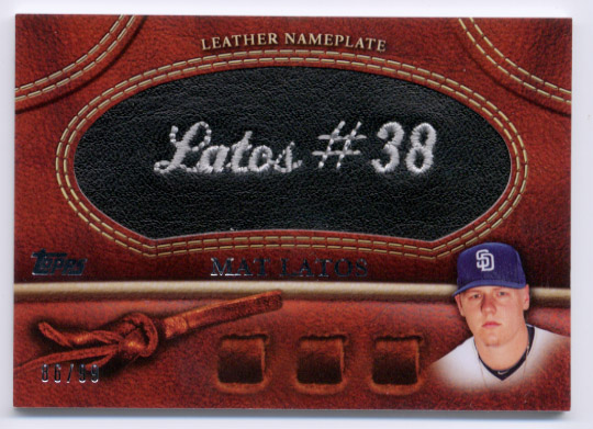 2011 Topps Glove Manufactured Leather Nameplates Black #ML Mat Latos