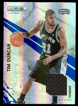 2010-11 Rookies and Stars Longevity Materials Sapphire #64 Tim Duncan