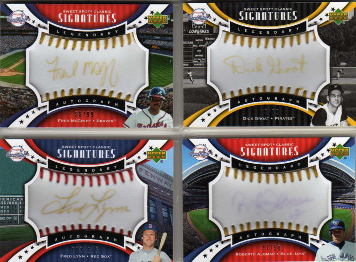 2007 Sweet Spot Classic Signatures Gold Stitch Blue Ink #RA Roberto Alomar/50