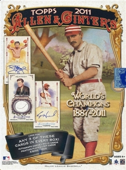 2011 Topps Allen And & Ginter Baseball Factory Sealed HOBBY Series Box With 3 Autograph, Relic, 1 Of 1 Printing Plate, Cut Sig, RIP Or Book Cards - WEEKLY SPECIAL - In Stock Now         front image