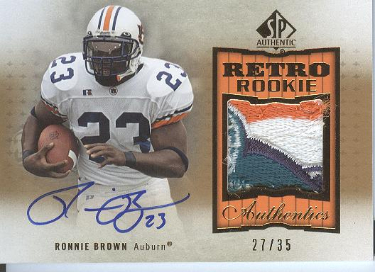 2010 SP Authentic Retro Rookie Patch Autographs #RB Ronnie Brown/35