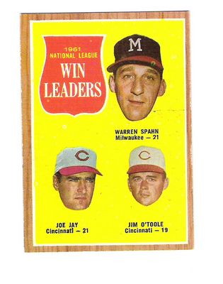 1962 Topps #58 NL Win Leaders/Warren Spahn/Joe Jay/Jim O'Toole front image