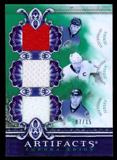 2010-11 Artifacts Tundra Trios Emerald #TT3SENS Alex Kovalev/Daniel Alfredsson/Nick Foligno