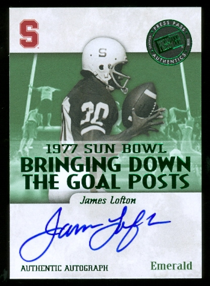 2008 Press Pass Legends Bowl Edition Bringing Down the Goal Posts Autographs Emerald #JL James Lofton/50