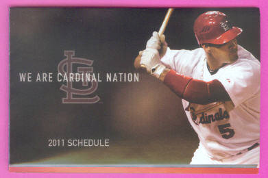 2011 St. Louis Cardinals Baseball World Series Champions Pocket Schedule (Albert Pujols Cover)