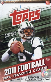 3 BOX LOT : 2011 Topps Football Factory Sealed HOBBY Box - 1 Autograph Or Relic Card Per HOBBY Box - In Stock Now  front image