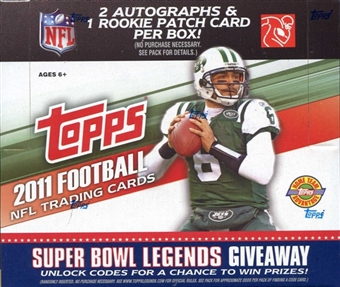 2011 Topps Football Factory Sealed HTA JUMBO Hobby Box - 2 AUTOGRAPHS ( Possible Joe Namath Aaron Rodgers Mark Sanchez Cam Newton ) & 1 Relic Per JUMBO Box + A Pack Of Sleeves - In Stock Now 