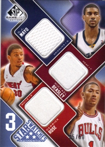 2009-10 SP Game Used 3 Star Swatches 50 #3SMBR O.J. Mayo/Derrick Rose/Michael Beasley