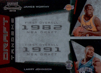 2009-10 Playoff Contenders Draft Tandems #8 James Worthy/Larry Johnson