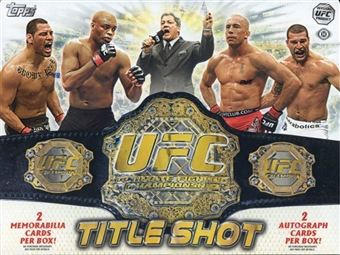 2011 Topps UFC Title Shot MMA Factory Sealed HOBBY Series Box With 2 Autographs ( 1 Autograph Relic ) & 2 Memorabilia Cards & 12 Inserts Per Box - In Stock Now    front image
