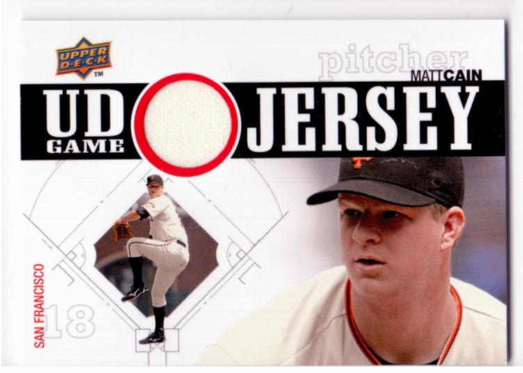 2010 Upper Deck UD Game Jersey #CA Matt Cain