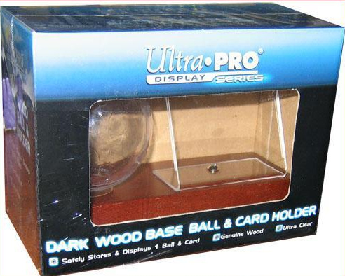 CASE OF 36 : Ultra Pro Wood Base Baseball & and Card Holder (Dark Wood)
