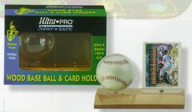 Ultra Pro Wood Base Baseball & and Card Holder (Light Wood)