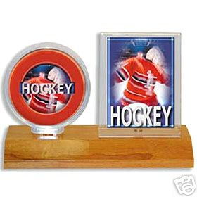 Ultra Pro Wood Base Hockey Puck & and Card Display Holder (Light Wood)