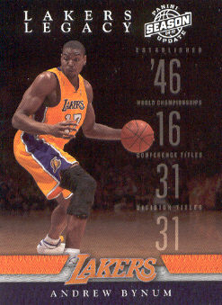 2009-10 Panini Season Update Lakers Legacy #10 Andrew Bynum