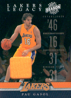 2009-10 Panini Season Update Lakers Legacy Jerseys #4 Pau Gasol