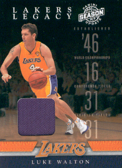 2009-10 Panini Season Update Lakers Legacy Jerseys #8 Luke Walton