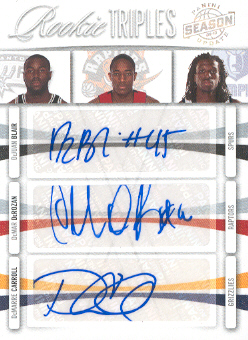 2009-10 Panini Season Update Rookie Triples Signatures #19 DeJuan Blair/49/DeMar DeRozan/DeMarre Carroll