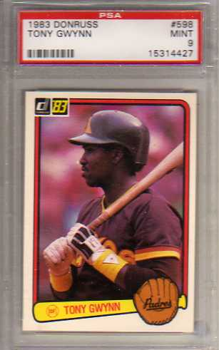 1983 Donruss #598 Tony Gwynn RC Graded PSA Mint 9