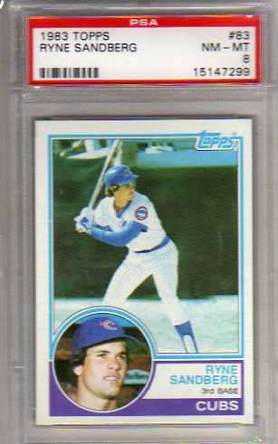 1983 Topps #83 Ryne Sandberg RC Graded PSA Nm-Mt 8