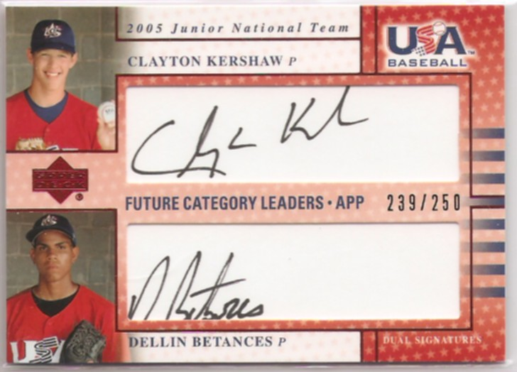 2005-06 USA Baseball Junior National Team Future Category Leaders Dual Signatures Black #10 Clayton Kershaw/Dellin Betances